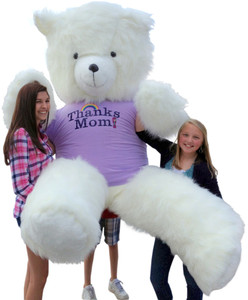 8 Feet Tall Biggest Mother's Day or Any Day Teddy Bear in the World - Wears Quality Purple T-shirt with Big Bold Imprint that says THANKS MOM - White Furry Smiling Mother Lode of Teddy Bear Love for Mom - MADE IN THE USA where SIZE MATTERS