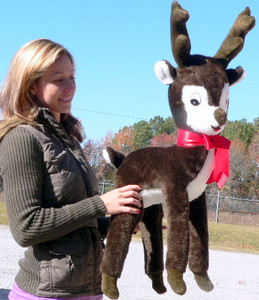 Giant Stuffed Reindeer Christmas Plush 3-feet Tall Dark Brown Color MADE IN USA