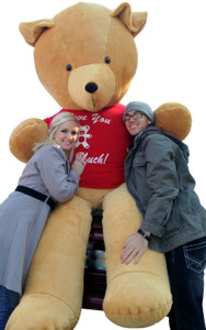 American Made 96 Inch Giant Teddy Bear Golden Brown Color Wears T-Shirt that says I LOVE YOU THIS MUCH
