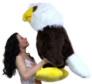 American Made Giant Stuffed Eagle 3 Feet Tall Soft Brown Realistic Big Plush Bird Made in the USA America