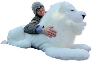 American Made Giant Stuffed WHITE Lion 48 Inches Soft Made in the USA America