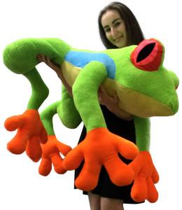 Huge Stuffed Tree Frog 4 Feet Long Big Plush Treefrog Giant Stuffed Arboreal Animal Stuffed Squishy Soft High Quality Large Plush Toy