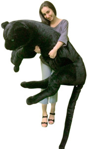 Giant Stuffed Black Panther 5 Feet Long Body PLUS Extra Long Tail Stuffed Soft with Realistic Molded Head Huge 60 inches Long Body