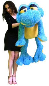 Giant Stuffed Frog 4 Feet Tall Big Plush Soft Blue and Yellow