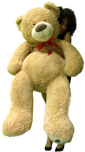 Huge Soft Teddy Bear 5 Feet Tall Beige Color with Bigfoot Paws Giant Stuffed Teddybear Animal