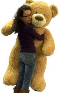 5 Foot Very Big Smiling Teddy Bear Five Feet Tall Cream Color with Bigfoot Paws Giant Stuffed Animal Bear
