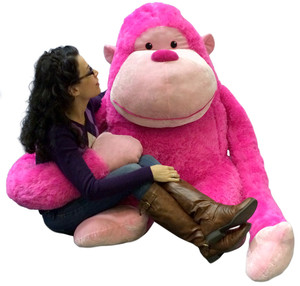 Giant Stuffed Gorilla with Size 63 Inches Waist Friendly Big Plush Monkey Ape Snuggle Buddy 4 Feet Tall and 4 Feet Wide and 3 Feet Deep Pink Color