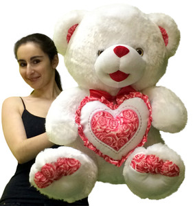 Big Plump and Soft Teddy Bear 24 Inches White Color Holding Red and White Floral Design Plush Heart Pillow