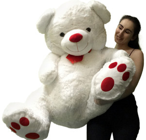 Giant Teddy Bear 4 feet tall Big Belly and Red Nose and Red Big Foot Paw Prints 48 Inches Tall Squishy Soft White Color Fur Stuffed by Hand in the USA