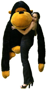 Giant Stuffed Gorilla with Size 63 Inches Waist Friendly Big Plush Monkey Ape Snuggle Buddy 4 Feet Tall and 4 Feet Wide and 3 Feet Black Color