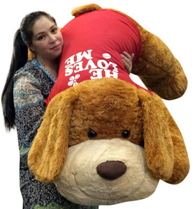 Giant Valentine Plush Puppy Huge 5 Feet Long Squishy Soft Wears HE LOVES ME T-Shirt Great For Valentine's Day or ANY Day to Show Your Love