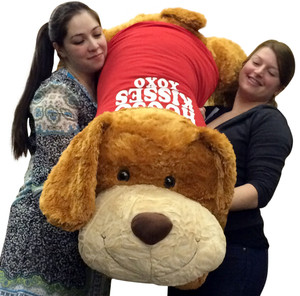 Giant Valentines Day Plush Romantic Dog Huge 5 Feet Long Squishy Soft Wears HUGS AND KISSES XO XO T-Shirt Great For Valentine's Day or ANY Day to Show Your Affection