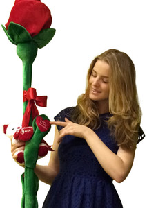 Fill In A Name Be My Valentine PERSONALIZED Plush Six Foot Rose Custom Embroidered with the NAME of Your Valentine Delivered in 6 Feet Tall Box with Teddy Bear Holding I Love You Heart