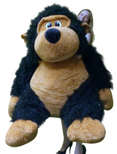 Super Sized Giant Stuffed Black Gorilla with Size 60 Inches Waist Long Fur Big Plush Gorilla Ape Absolutely Massive and Squishy Soft