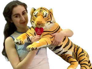 Personalized Embroidery on Big Plush Roaring 3-Foot Tiger Holds Heart Pillow Embroidered with His and Her Names 32 Inches Long Body Plus 18 Inch Tail