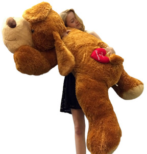 His and Her Names In a Heart Personalized Giant Valentine Plush Puppy Brown Huge 5 Feet Long Squishy Soft with Attached Heart That is Custom Embroidered His Name and Her Name Inside of a Heart
