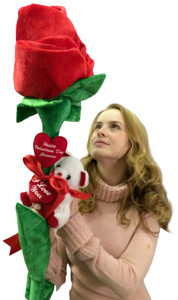 Happy Valentine's Day Fill In a Name PERSONALIZED I Love You Big Plush Six Foot Rose with Embroidered NAME of Your Valentine Two Heart Pillows Delivered in 6 Feet Tall Box with Teddy Bear Holding I Love You Heart