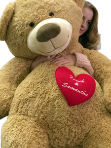 His Name and Her Name Embroidered Personalized Giant Valentine's Day Teddy Bear Custom Name Embroidery on Chest of Five Feet Tall Tan Color Soft Smiling Big Teddybear
