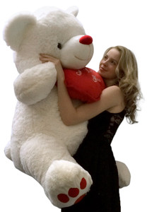 Giant Valentine Teddy Bear 4 feet tall Holding I Love You Heart Pillow with Red Nose and Red Big Foot Paw Prints 48 Inches Tall Squishy Soft White Color