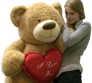 I Love You Giant Teddy Bear for Valentine's Day or Any Day Five Feet Tall Squishy Soft Holds Big Plush Red Heart Pillow Embroidered With the Phrase I LOVE YOU