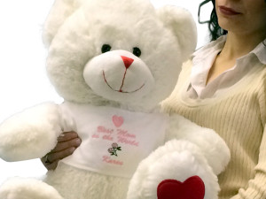 Best Mom in the World Teddy Bear 22 Inches with Name of Mother Personalized Custom Embroidered on T-shirt