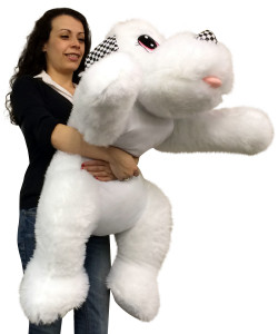 Big Stuffed White Puppy Dog 40 inches Long Squishy Soft Large Plush Animal