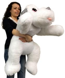 Big Stuffed White Puppy Dog 40 inches Long Squishy Soft Large Plush Animal