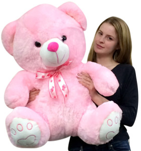 Giant Pink Teddy Bear Two and a Half Feet Tall Soft with Embroidered Paws Superior Quality 30 Inches