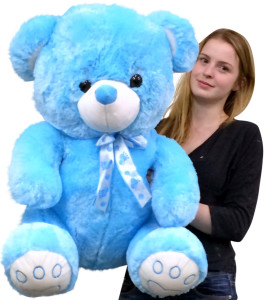 Giant Blue Teddy Bear Two and a Half Feet Tall Soft with Embroidered Paws Superior Quality 30 Inches