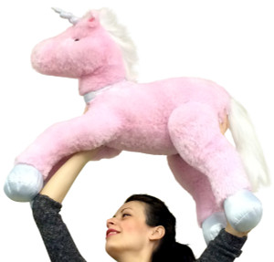 Premium Quality Large Stuffed Unicorn 37 inches Long Very Soft Big Plush Animal Pink Color
