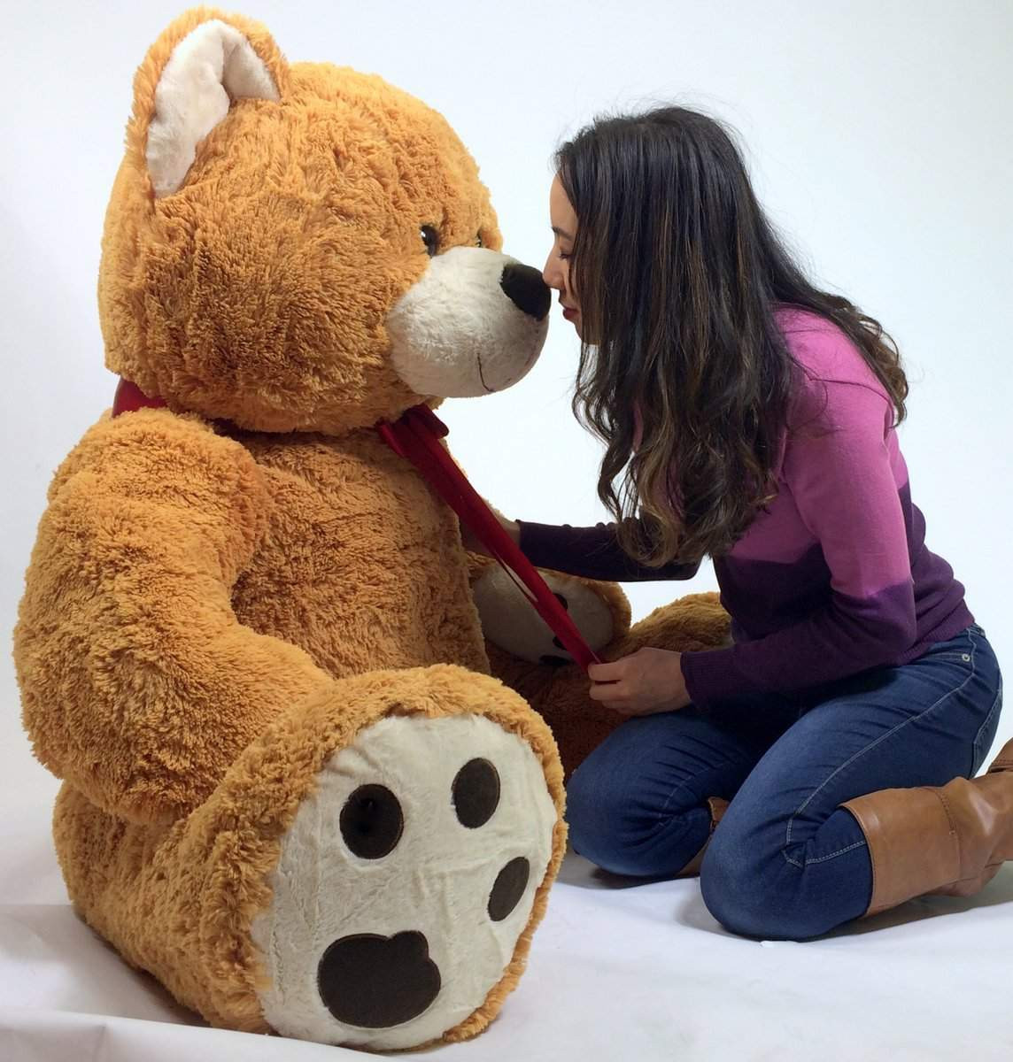 55 Inches Big Plush Smiling Teddy Bear Almost Five Feet Tall Honey