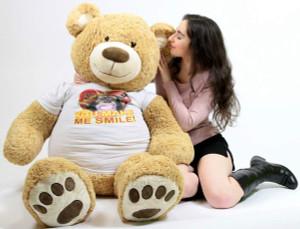 Big Plush Romantic Giant Teddy Bear Five Feet Tall Wears Tshirt that says HEY BEAUTIFUL YOU MAKE ME SMILE