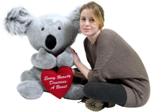 American Made Romantic Large Stuffed Koala 26 inches Soft Holds Heart that Says EVERY BEAUTY DESERVES A BEAST