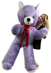 American Made Giant 6 Foot Purple Teddy Bear with White Face Big Plush Bear Made in USA