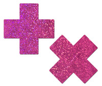 Plus X: Hot Pink Glitter Cross Nipple Pasties by Pastease® o/s