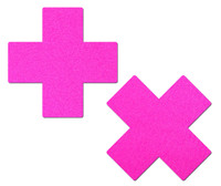 Plus X: Neon Pink Day-Glow Lycra Cross Nipple Pasties by Pastease® o/s
