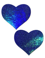Love: Liquid Blue Spectrum Heart Nipple Pasties by Pastease® o/s