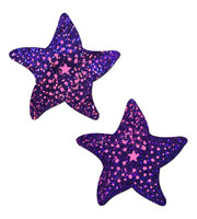 Starfish: Twinkling Purple & Pink Print Sea Star Nipple Pasties by Pastease® o/s
