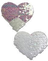 Sweety: Pearl & White Color Changing Sequin Heart Nipple Pasties by Pastease® o/s