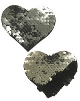 Sweety: Silver & Black Color Changing Sequin Heart Nipple Pasties by Pastease® o/s