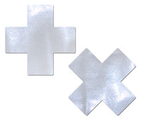 Plus X: Liquid White Cross Nipple Pasties by Pastease® o/s