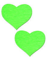 Sweety: Neon Green and Glow-in-the-Dark Hearts Nipple Pasties by Pastease® o/s