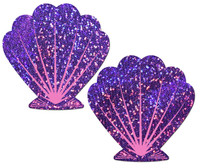 Mermaid: Purple Glitter & Pink Seashell Nipple Pasties by Pastease® o/s