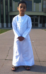 Special Man Arabian Islamic Omani Thobe for the Muslim Boy - White