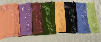 Georgette square scarves with 5 lines of sequins