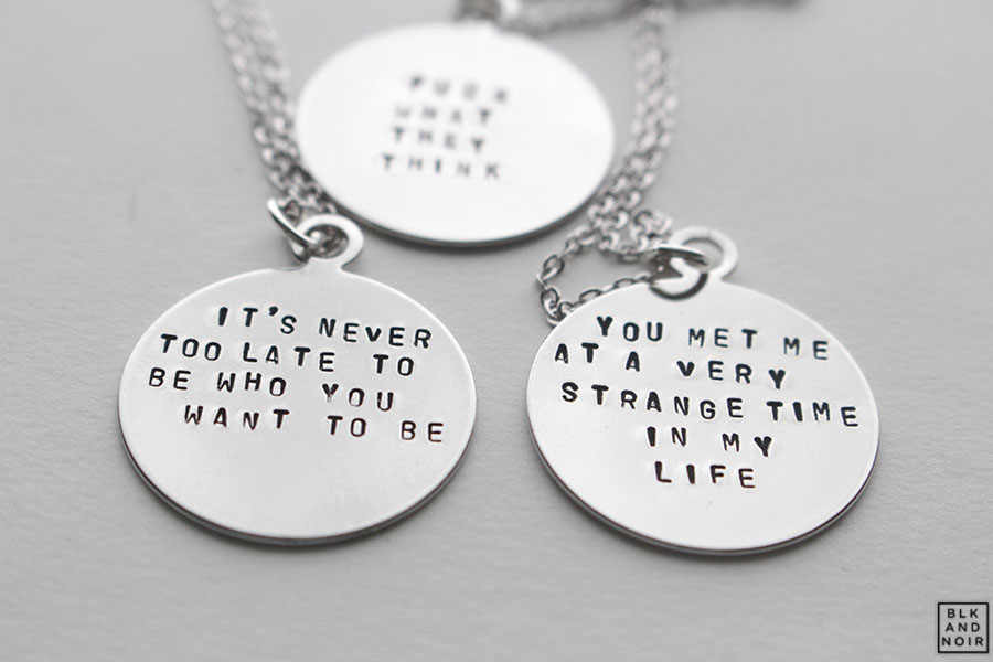 Custom circle quote necklace in silver. Customize this necklace to say whatever you like.