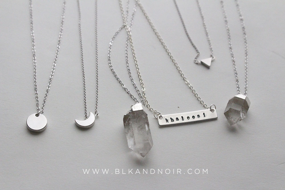 silver rhodium necklaces by BLK AND NOIR