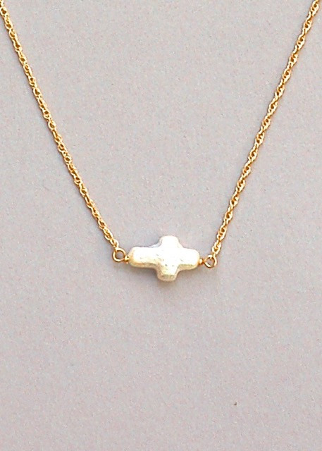 Pearl Cross Necklace - Gold