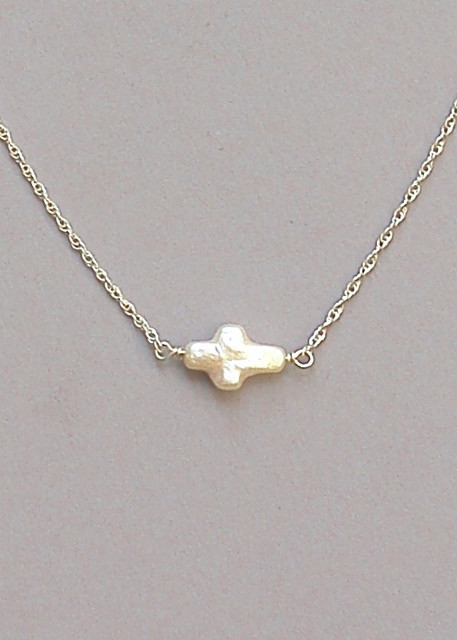 Pearl Cross Necklace - Silver