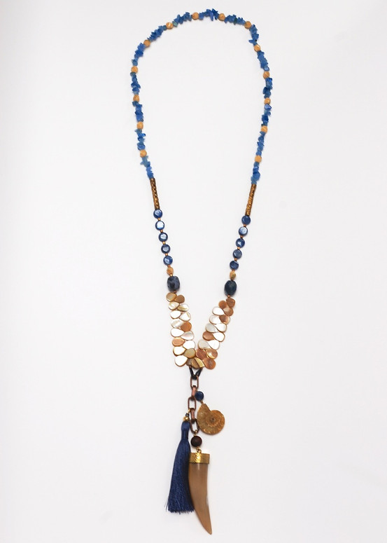 Gypsy Horn Necklace- Blue